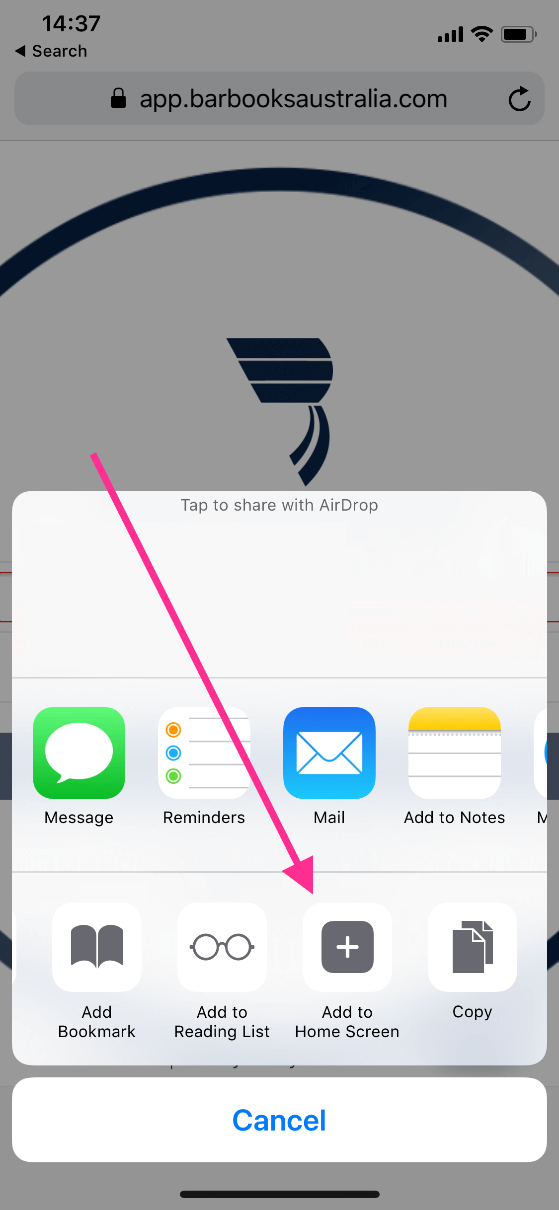 How to add BarBooks Webapp shortcut on your iPhone - BarBooks
